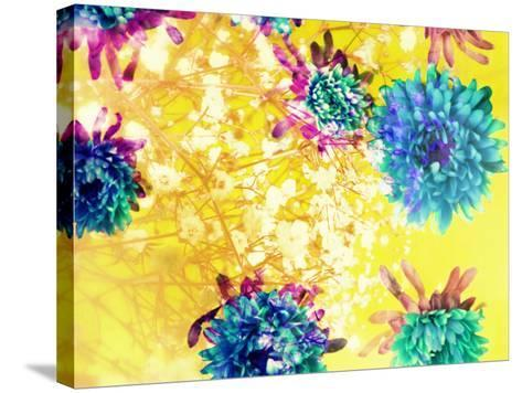 Composing of Blue and Green Blossoms in Yellow Water, Violet Petals, White Flowering Branch-Alaya Gadeh-Stretched Canvas Print