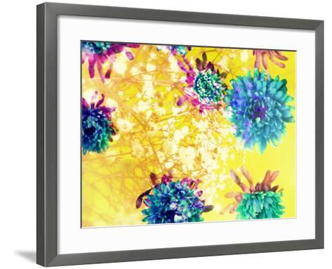Composing of Blue and Green Blossoms in Yellow Water, Violet Petals, White Flowering Branch-Alaya Gadeh-Framed Art Print