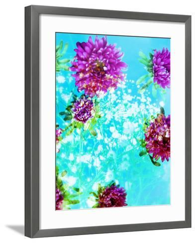 Composing of Mauve Blossoms in Blue Water with White Flowering Branches-Alaya Gadeh-Framed Art Print