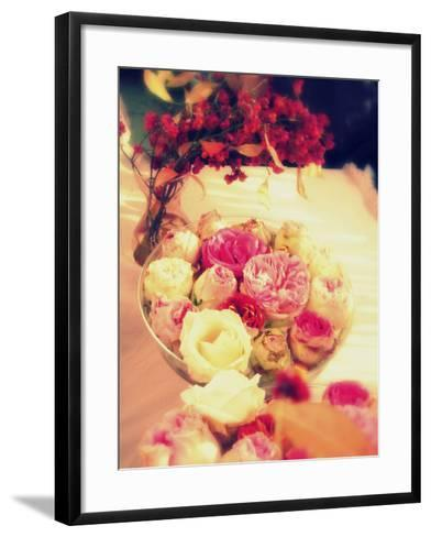 Table Decoration, Rose Blossoms in a Bowl, Vase, Branches-Alaya Gadeh-Framed Art Print