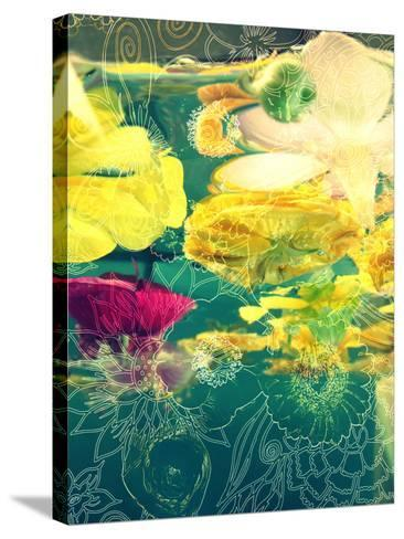 Composing, Yellow and Crimson Blossoms in Green Water, Floral Ornaments-Alaya Gadeh-Stretched Canvas Print