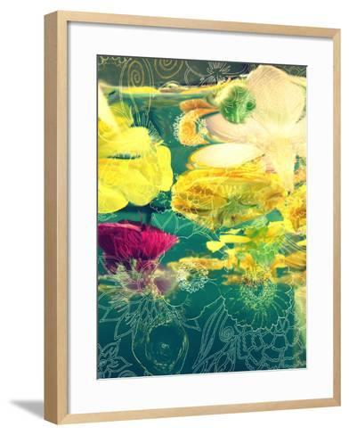 Composing, Yellow and Crimson Blossoms in Green Water, Floral Ornaments-Alaya Gadeh-Framed Art Print