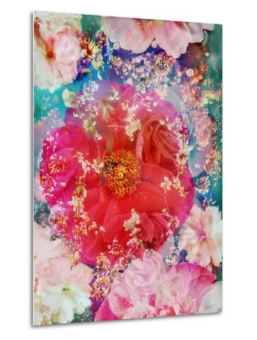 Red Blooming Rose Blossom with Cherry Blossoms Ornaments from Spring Trees-Alaya Gadeh-Metal Print