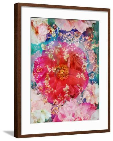 Red Blooming Rose Blossom with Cherry Blossoms Ornaments from Spring Trees-Alaya Gadeh-Framed Art Print