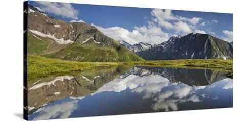 View from Oberberg, Blauer Kofel, Rotes Beil, Mountain Lake, Pfitscher Tal (Valley-Rainer Mirau-Stretched Canvas Print