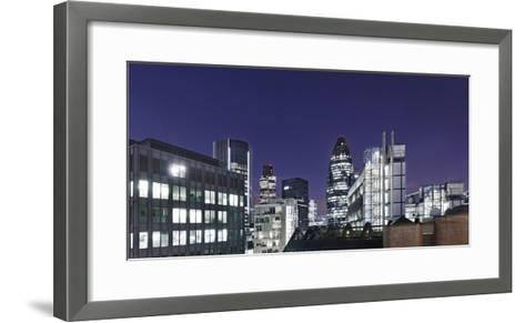 Panorama, City of London, Swiss-Re-Tower, 30 St. Mary Axe, England, Great Britain-Axel Schmies-Framed Art Print