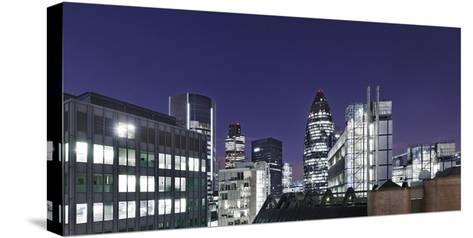 Panorama, City of London, Swiss-Re-Tower, 30 St. Mary Axe, England, Great Britain-Axel Schmies-Stretched Canvas Print