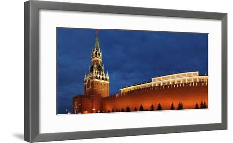 Moscow, Panorama, Kremlin, Erlšserturm (Saviour's Tower), Illuminated, in the Evening-Catharina Lux-Framed Art Print