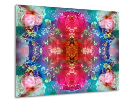 Symmetric Floral Montage with Red Blooming Rose Blossom, Cherry Blossoms and Spring Trees-Alaya Gadeh-Metal Print