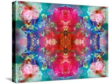 Symmetric Floral Montage with Red Blooming Rose Blossom, Cherry Blossoms and Spring Trees-Alaya Gadeh-Stretched Canvas Print