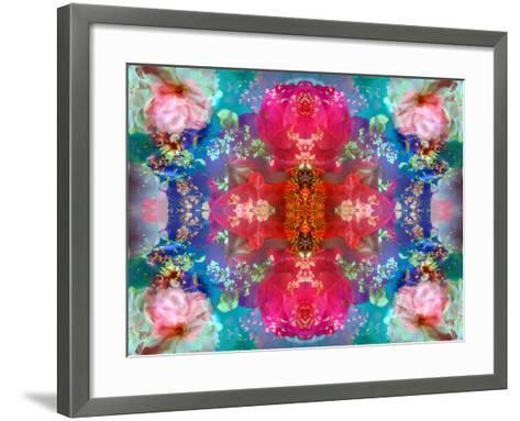 Symmetric Floral Montage with Red Blooming Rose Blossom, Cherry Blossoms and Spring Trees-Alaya Gadeh-Framed Art Print