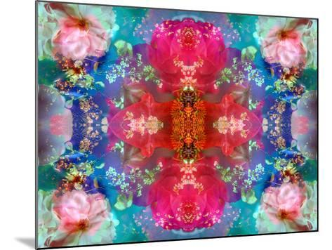 Symmetric Floral Montage with Red Blooming Rose Blossom, Cherry Blossoms and Spring Trees-Alaya Gadeh-Mounted Photographic Print