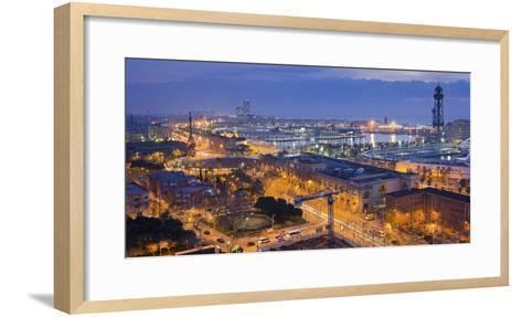 Spain, Catalonia, Barcelona, City View, Dusk-Rainer Mirau-Framed Art Print