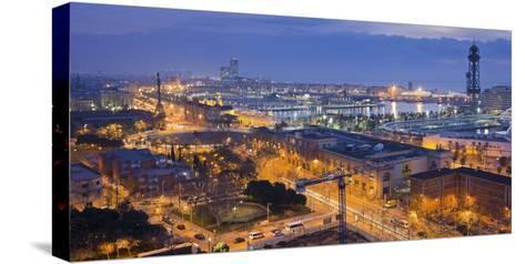Spain, Catalonia, Barcelona, City View, Dusk-Rainer Mirau-Stretched Canvas Print