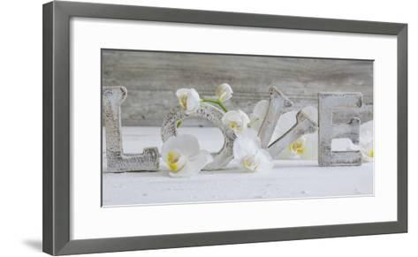 Wooden Letters \'Love\' with Orchid Blossoms Photographic Print by Uwe ...