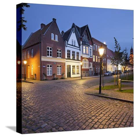 Houses at the Mittelburgwall (Street), Friedrichstadt, Schleswig-Holstein, Germany-Rainer Mirau-Stretched Canvas Print