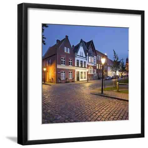 Houses at the Mittelburgwall (Street), Friedrichstadt, Schleswig-Holstein, Germany-Rainer Mirau-Framed Art Print