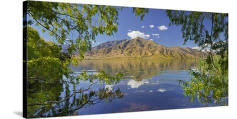 Pastures on the Shore of the Lake Benmore, Otago, South Island, New Zealand-Rainer Mirau-Stretched Canvas Print