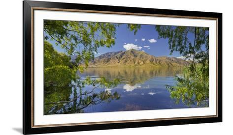 Pastures on the Shore of the Lake Benmore, Otago, South Island, New Zealand-Rainer Mirau-Framed Art Print