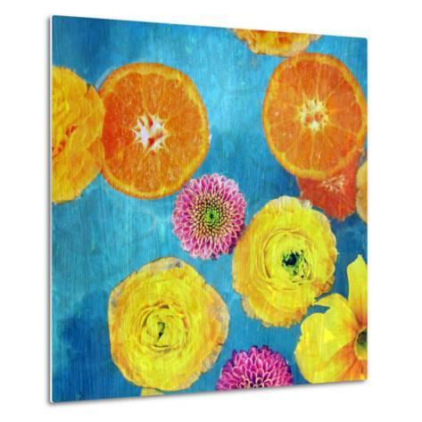 Composing of Blossoms and Slices of Orange on Blue Underground-Alaya Gadeh-Metal Print