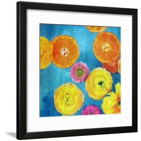 Composing of Blossoms and Slices of Orange on Blue Underground-Alaya Gadeh-Framed Art Print