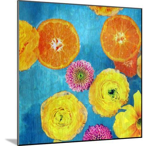 Composing of Blossoms and Slices of Orange on Blue Underground-Alaya Gadeh-Mounted Photographic Print