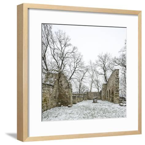 Germany, Saxony-Anhalt, Saale-Holzland-Kreis, Camburg, Ruin of the Cyriaks Church in Winter-Andreas Vitting-Framed Art Print
