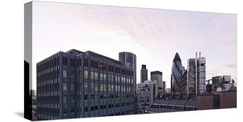 City View with Swiss-Re-Tower of Architect Sir Norman Foster, 30 St. Mary Axe, England-Axel Schmies-Stretched Canvas Print