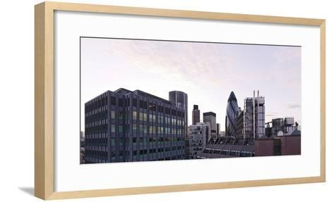 City View with Swiss-Re-Tower of Architect Sir Norman Foster, 30 St. Mary Axe, England-Axel Schmies-Framed Art Print