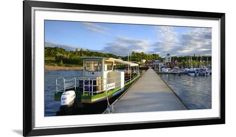 Germany, Saxony-Anhalt, MŸcheln, Geiseltalsee, Marina, Sailboats and Tourboat in the Evening Light-Andreas Vitting-Framed Art Print