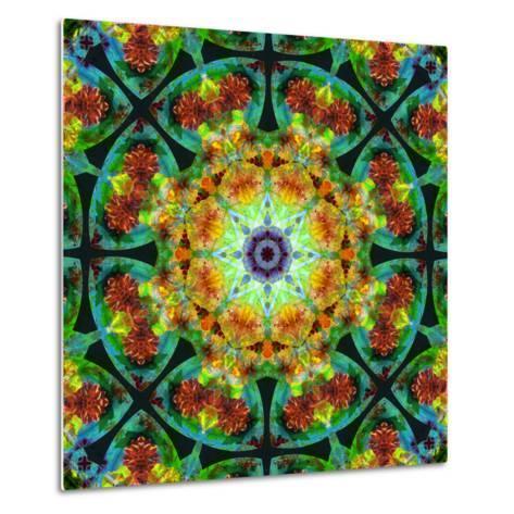 Photomontage of Flowers in a Symmetrical Ornament, Mandala-Alaya Gadeh-Metal Print