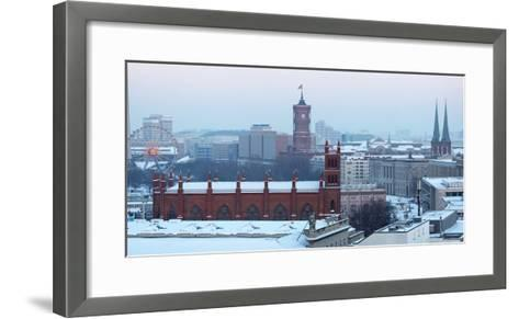Germany, Berlin, Snow, View at Red City Hall, St. Nicholas' Church-Catharina Lux-Framed Art Print