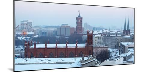 Germany, Berlin, Snow, View at Red City Hall, St. Nicholas' Church-Catharina Lux-Mounted Photographic Print