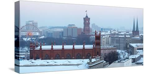 Germany, Berlin, Snow, View at Red City Hall, St. Nicholas' Church-Catharina Lux-Stretched Canvas Print