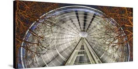 Germany, North Rhine-Westphalia, Dusseldorf, Big Wheel on the Old Town Bank at Night-Andreas Keil-Stretched Canvas Print