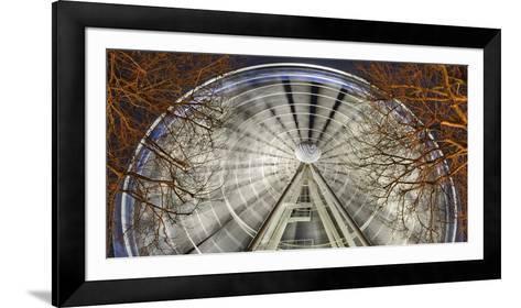 Germany, North Rhine-Westphalia, Dusseldorf, Big Wheel on the Old Town Bank at Night-Andreas Keil-Framed Art Print