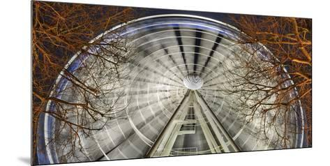 Germany, North Rhine-Westphalia, Dusseldorf, Big Wheel on the Old Town Bank at Night-Andreas Keil-Mounted Photographic Print