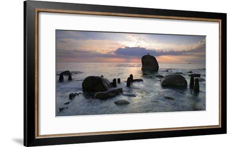 Erratic Blocks at Sunrise, National Park Jasmund, Island RŸgen, Mecklenburg-West Pomerania, Germany-Andreas Vitting-Framed Art Print