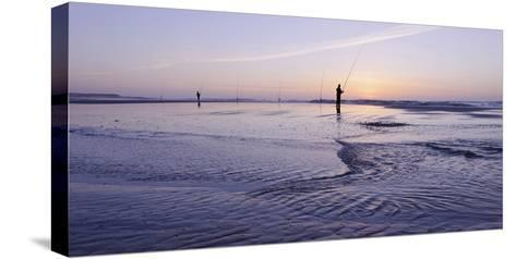 Surf Angler on the Beach, Evening Mood, Praia D'El Rey-Axel Schmies-Stretched Canvas Print
