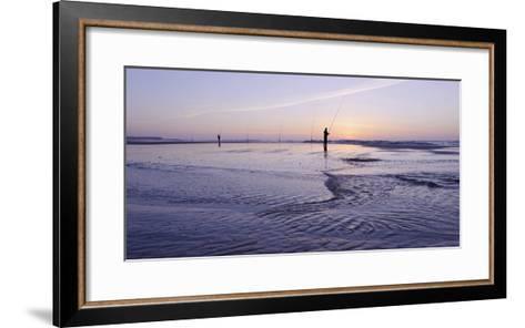 Surf Angler on the Beach, Evening Mood, Praia D'El Rey-Axel Schmies-Framed Art Print