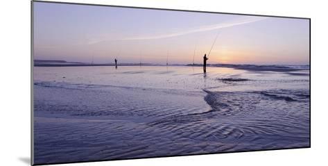 Surf Angler on the Beach, Evening Mood, Praia D'El Rey-Axel Schmies-Mounted Photographic Print