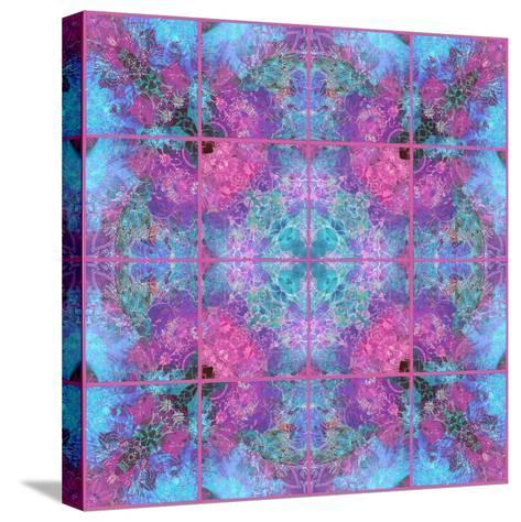 Pink Blueberry Cross Mandala Tiles-Alaya Gadeh-Stretched Canvas Print