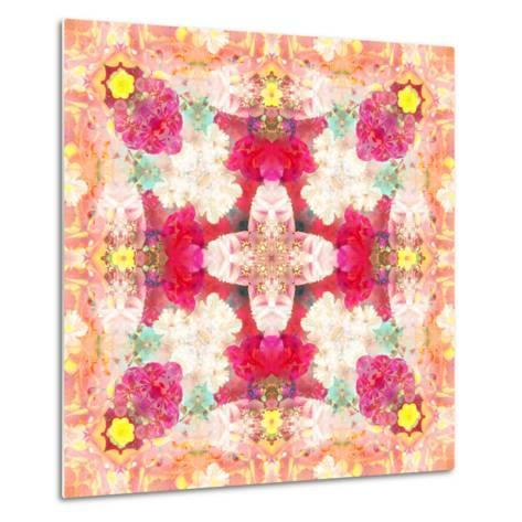 A Floral Montage, Layer Work from Pink and Red Poeny Blossoms and Pink Cherry Blossoms-Alaya Gadeh-Metal Print
