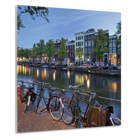 Bicycles, Houses Near the Keizersgracht, Amsterdam, the Netherlands-Rainer Mirau-Metal Print