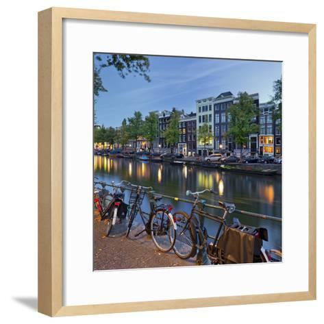 Bicycles, Houses Near the Keizersgracht, Amsterdam, the Netherlands-Rainer Mirau-Framed Art Print