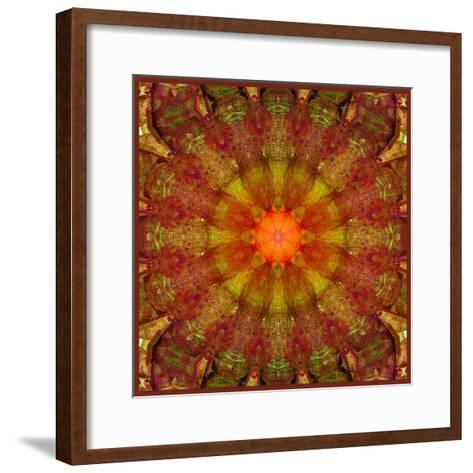 A Mandala from Leafes and Flowers, Conceptual, Symmetric Layer Work-Alaya Gadeh-Framed Art Print