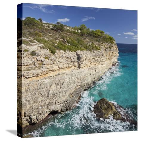 Steep Coast Near Cala Romantica, Majorca, Spain-Rainer Mirau-Stretched Canvas Print