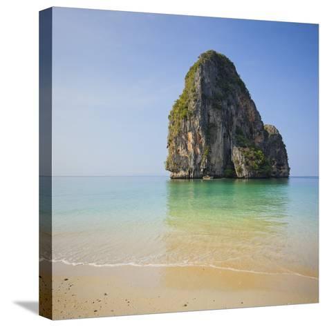 Rock at the Phra Nang Beach, Ao Nang, Krabi, Thailand-Rainer Mirau-Stretched Canvas Print