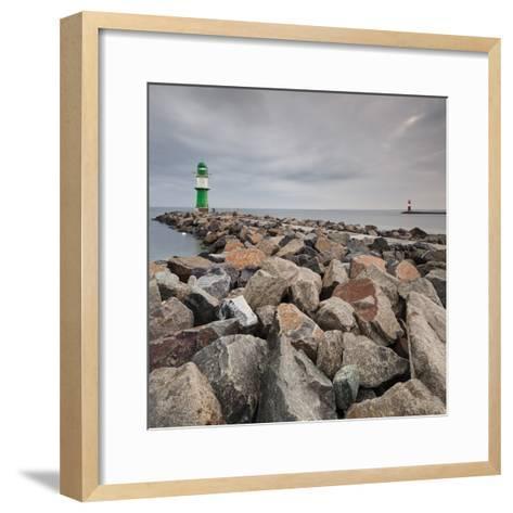Lighthouse of WarnemŸnde, Wast Mole (Jetty), Mecklenburg-Western Pomerania, Germany-Rainer Mirau-Framed Art Print