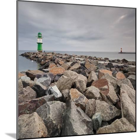 Lighthouse of WarnemŸnde, Wast Mole (Jetty), Mecklenburg-Western Pomerania, Germany-Rainer Mirau-Mounted Photographic Print